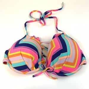Victoria Secret Bikini Top 34C Halter Multicolor